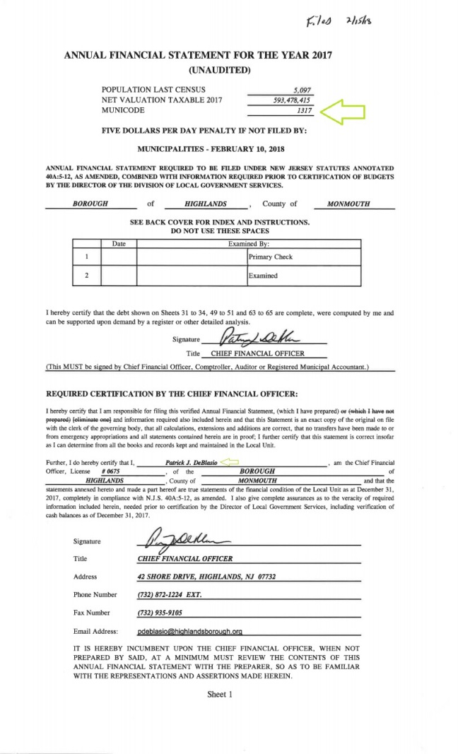 BOROUGH OF HIGHLANDS PAGE ONE OF SEVENTY ONE AFS UNAUDITED TWO THOUSAND SEVENTEEN CFO PATRICK J DEBLASIO