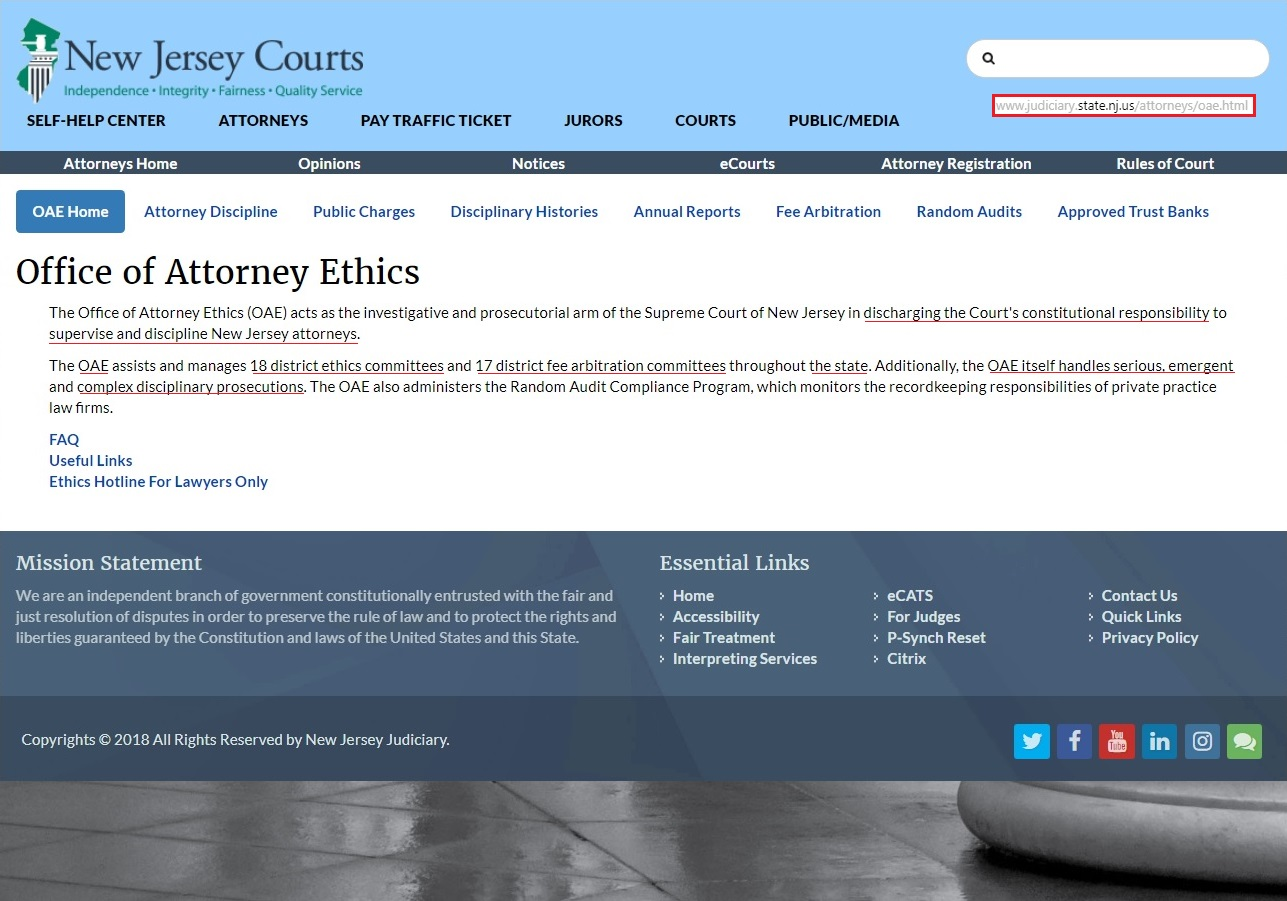 OFFICE OF ATTORNEY ETHICS STATE OF NEW JERSEY SUPREME COURT DISTRICTS FOLLOWING FROM ONE