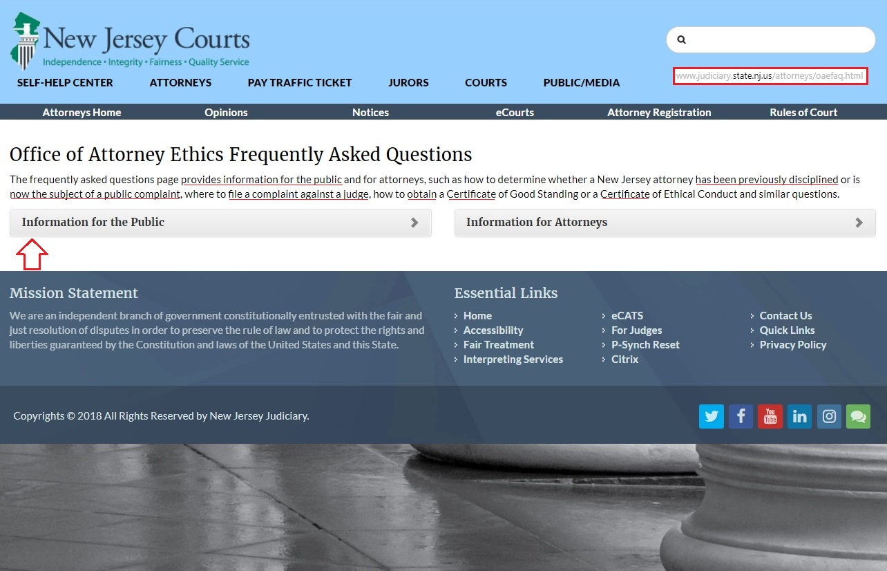 OFFICE OF ATTORNEY ETHICS STATE OF NEW JERSEY SUPREME COURT DISTRICTS FOLLOWING FROM TWO